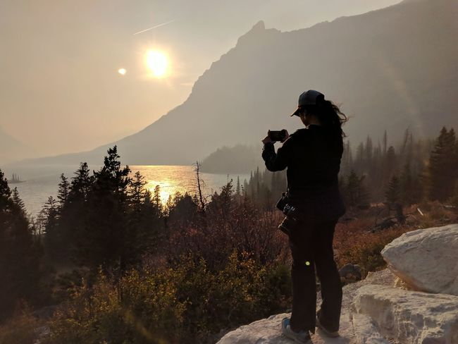 One Person Silhouette Standing Landscape Sunset Full Length Smoky Sunset Scenics Water Day Mountain Lake