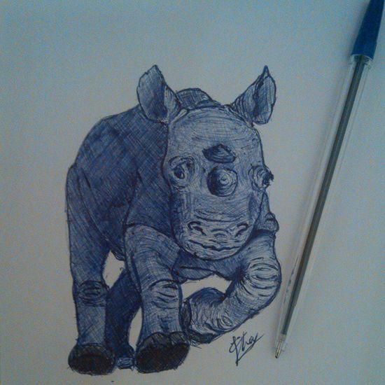 Look it's a baby rhino :) Biro Pen Blue Drawing Rhino Rhinoceros Nature Wildlife Art Africa