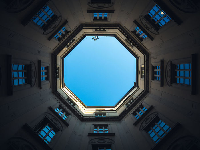 Directly Below Shot Of Building Interior