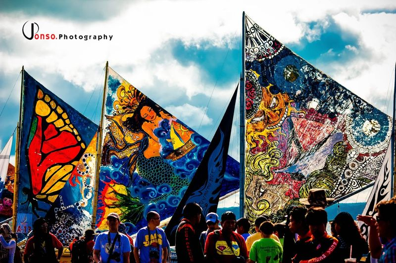 Iloilo City Philippines Paraw Regatta Cloud - Sky Sky Multi Colored Group Of People Flag Real People Day