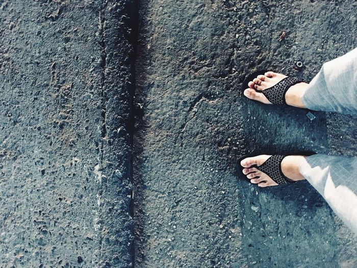 On the way Low Section Human Body Part Body Part Human Leg One Person Shoe Limb Lifestyles Standing Day Women Outdoors High Angle View