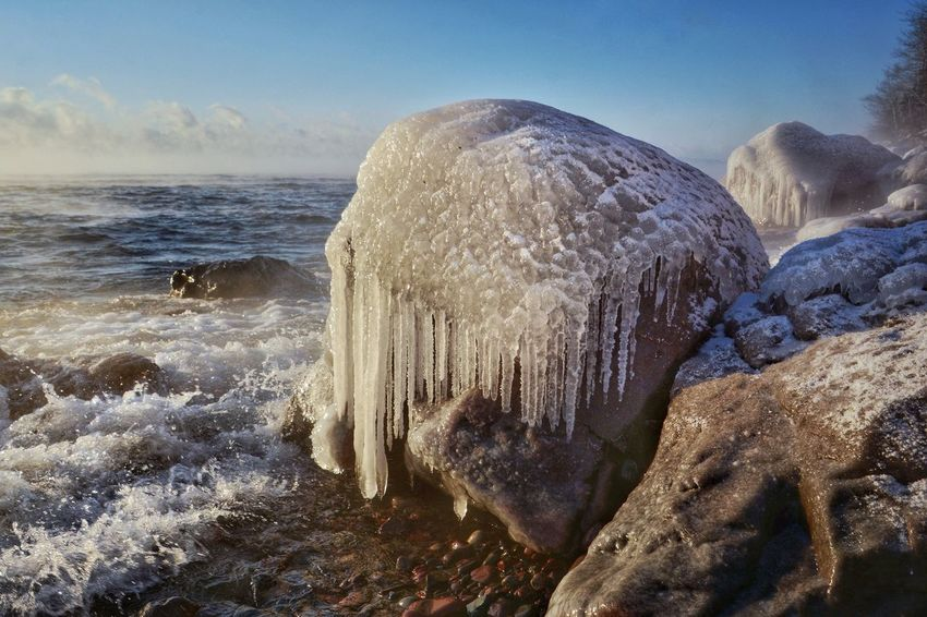 The sea smoke is back along with below 0F temps! Sea Nature Beauty In Nature Water Wave Sky No People Beach Motion Scenics Outdoors Day Close-up Malephotographerofthemonth Lake Superior Minnesota Lakesuperior Winter Ice Frozen Beauty In Nature