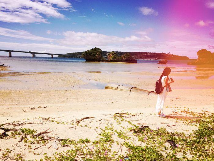Beach Sea Sky Beautiful Girl Modelgirl Standing Nature Full Length Summer Cloud - Sky Scenics 愛楽園 Photooftheday 세계 EyeEmNewHere The Week On EyeEm Okinawa Snap Snapshot Snapshots Of Life IPhoneography W/natsu Beauty In Nature Photogenic  Fragility