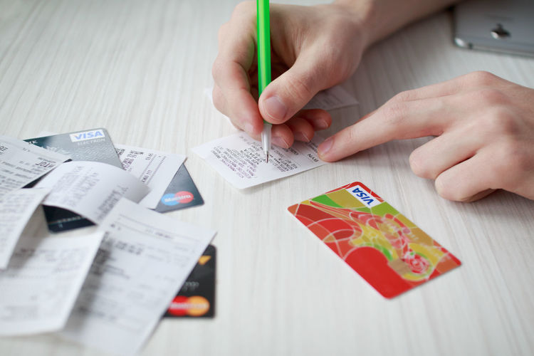 Business Finance And Industry Finance And Economy Onlineshop Wireless Technology Mobile Phone Human Body Part Pen Banking Credit Card Payments Payment System Card Business Payment Expenses Costs Bill Check Maestro  MasterCard Visa Calculator Smart Phone Human Finger Human Hand