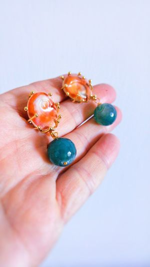 Human Hand One Person Human Body Part One Woman Only Earrings ❤ Earrings Gift Shell Agate Stone Gift
