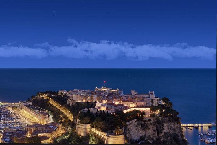 Panoramic view of city at night