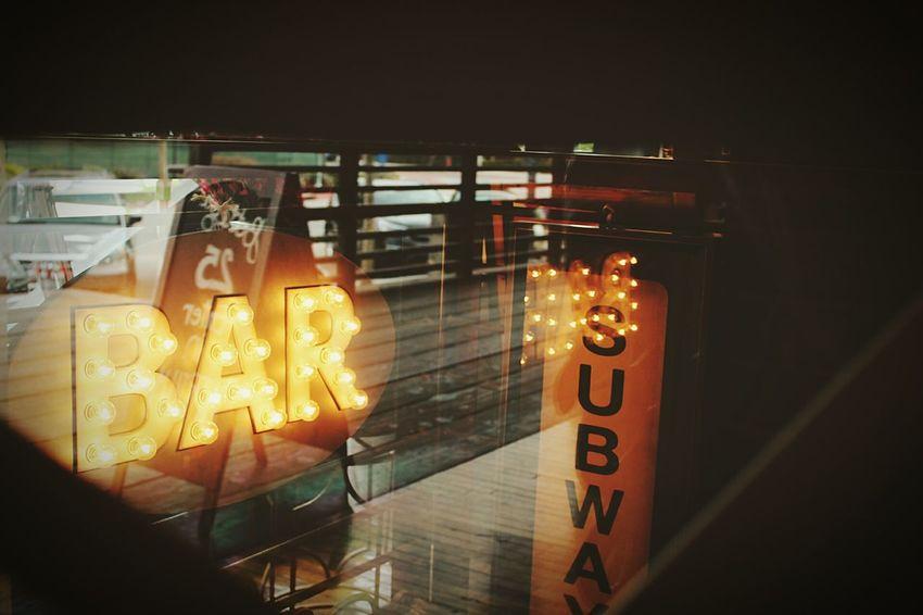 Illuminated No People Day Light Environment Indoors  Subway Bar Sign Bar Glass Windows