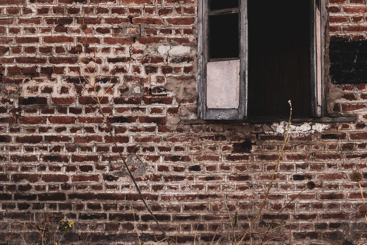 brick wall Window Brick Wall Copy Space Exposed Brick EyeEmNewHere Brown Outdoor Abandoned Building Under Demolition Backgrounds Window Pattern Architecture Deterioration Abandoned Weathered