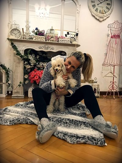 Women Hug Love Friendship Togetherness Confidence  Happyness Bonding Poodletoy Poodle Pets Indoors  One Animal Dog Domestic Animals Home Interior Sitting Animal Themes Mammal One Person Lifestyles Portrait Friendship Blond Hair Full Length Real People Home Showcase Interior