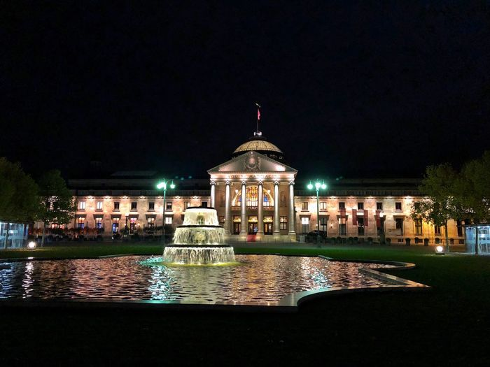Spielbank Wiesbaden, Kasino Night Architecture Built Structure Illuminated Building Exterior Water Dome Outdoors No People Travel Destinations Sky City Nature Kasino Casino Wiesbaden Spielbank