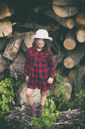 Smile Portrait Woodpile Smiling Looking At Camera Women Happiness Checked Pattern