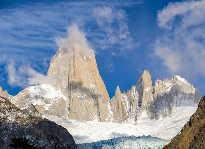 an amazing view of Mount Fitz Roy in El Chalten Argentina. As we hiked towards the Laguna de trees- a lake that sits beneath Mt Fitz Roy, the clouds cleared and the sun came out; we had the opportunity to see the peaks El Calafate Fitz Roy Summit Fitzroy Hiking Piedra Blancas Glacier Piedras Blancas Trekking Vacations Active Argentina Blue Sky Glacier Lifestyles Mountain Range Patagonia Argentina Peaks Scatter Clouds Sky South America Strenuous Hike EyeEmNewHere