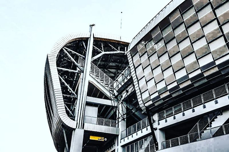 Low Angle View Built Structure Architecture Day Outdoors No People Sky Stadium Atmosphere Stadium Stadium Architecture Architecture Minimalism Minimalmood Modern Architecture Modern Elegant Vintage Highlights Abstract Visionphotography