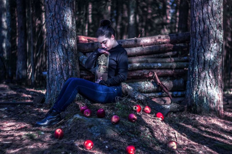 Apples Mood Photo Surrealism Illusion Swirly Bokeh Helios Creative Inspired By Nature Visual Creativity Vibes From My Point Of View Fantastic Exhibition Spring Springtime Capture The Moment Close-up Lost in the Landscape Forrest Life Blossom Tree Full Length Young Women