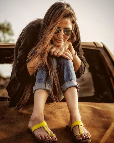 Candid Portrait Girl Outdoors Rust Rusted Car Evening Retrocolors Eyewear Bullring Footwear Denim Urbanwear Trendy Fashion Random Mumbai India