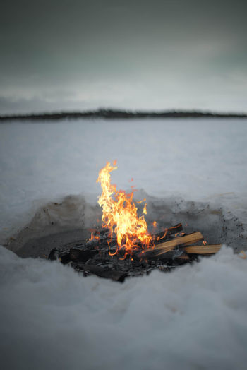 Campfire Against Sky During Winter