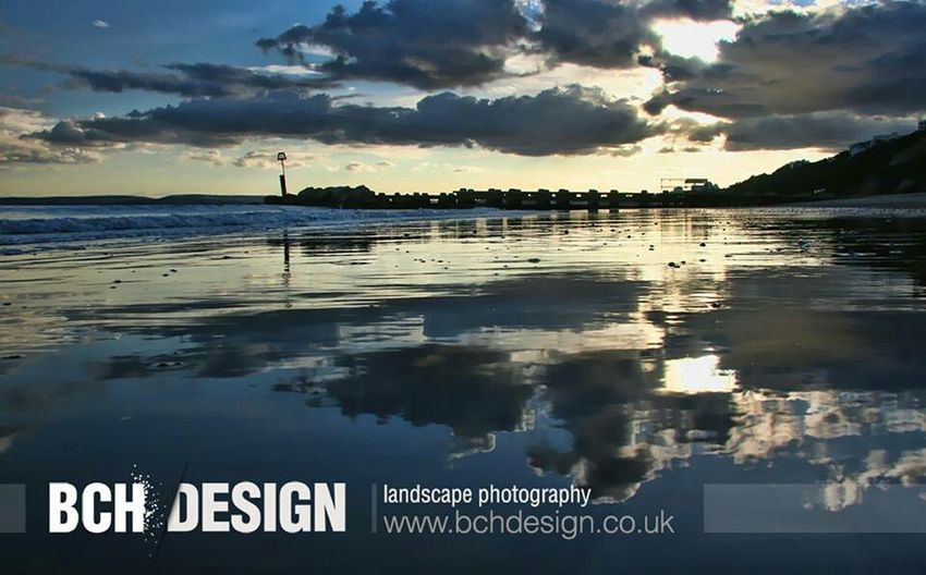 Bournemouth Beach Sea Reflection Clouds And Sky Bchdesign
