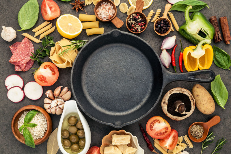 Directly above shot of frying pan surrounded with various spices and vegetables