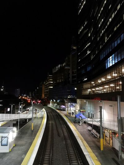 South Bank Station in Brisbane this evening. Night Illuminated Built Structure Architecture Building Exterior Transportation City Railroad Track Outdoors Train Station Train Public Transport