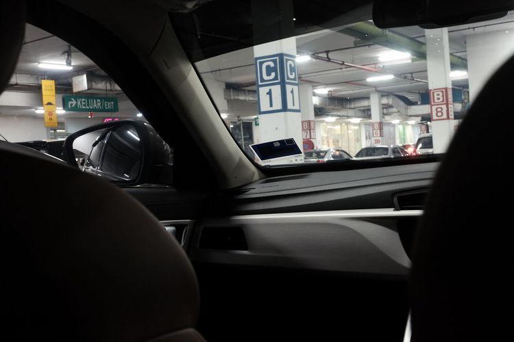 Interior of car in city