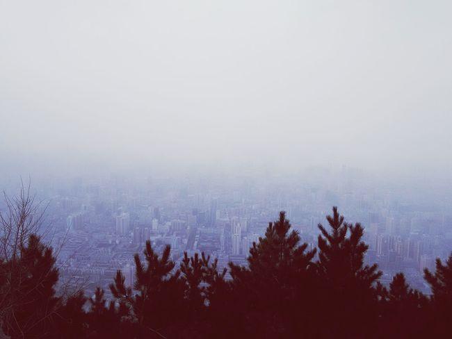Foggy. City Cityscape Lanzhou Mountain