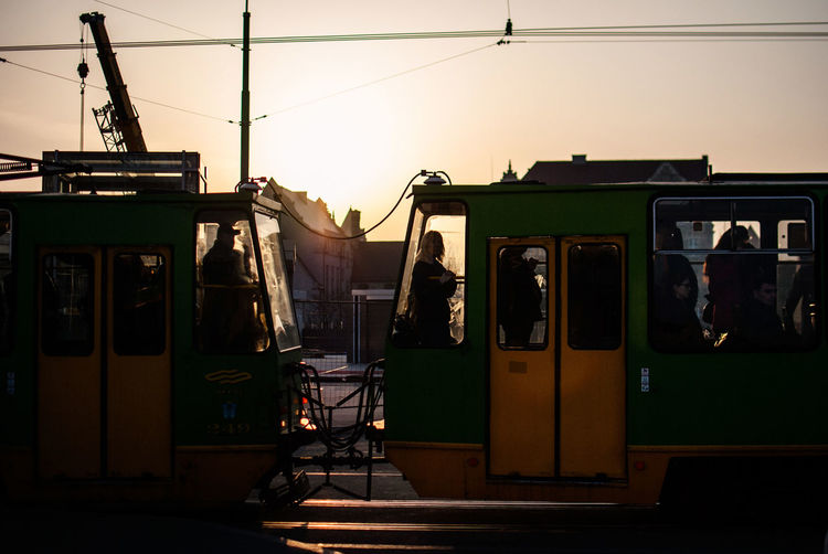 Cable Car On Tracks During Sunset