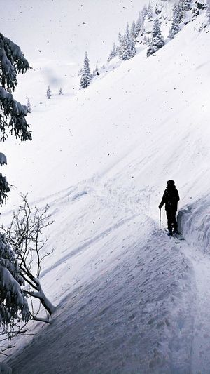 Snow Winter Cold Temperature Frozen Silhouette Day Outdoors Full Length Nature Landscape Adventure Snowing Ski Holiday One Person People Beauty In Nature Adult One Man Only Warm Clothing Snowboarding The Great Outdoors - 2018 EyeEm Awards