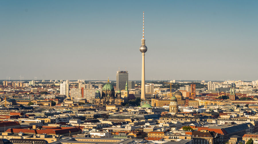 Berlin Skyline City Building Cityscape Sky Tower Tall - High Spire  Travel Tourism Outdoors Office Building Exterior Building Exterior Built Structure Architecture Travel Destinations Skyscraper Berlin Berliner Ansichten Berlin Mitte Tourist Attraction  Residential Structure Television Aerial Spire  Television Tower Broadcasting German Culture Historic