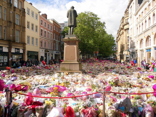 Architecture Building Exterior Built Structure City Day Flower Human Representation In Memoriam Love Manchester UK Nature No People Outdoors Rest In Peace Richard Cobden Sad Sadness Sadness :'( Sadness And Sorrow Sadness... Sadness😢 Sculpture Sky St Anne's Square Statue