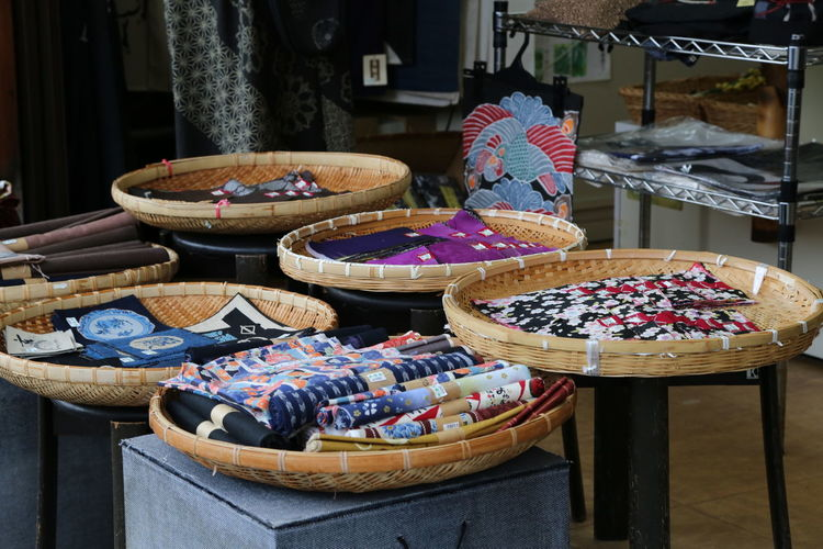 Textiles in basket for sale
