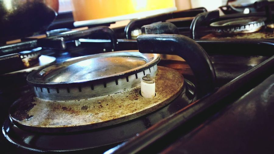 Close-Up Of Old Stove In Kitchen