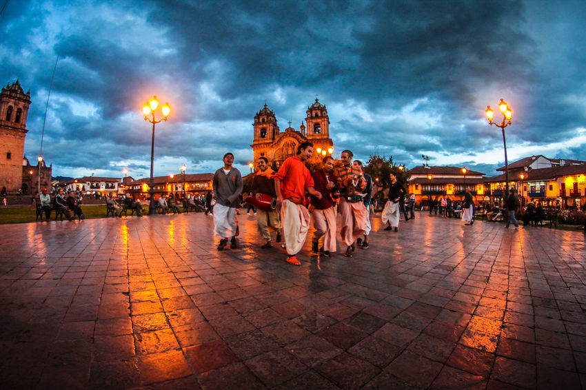 Cloud - Sky People Full Length Sky Adult Travel Destinations Outdoors Adults Only Large Group Of People City The Week On EyeEm Peru Cusco Discoversouthamerica Sunset Wanderlust Religion Hare Krishna Festival Cityscape Second Acts Dancing Around The World