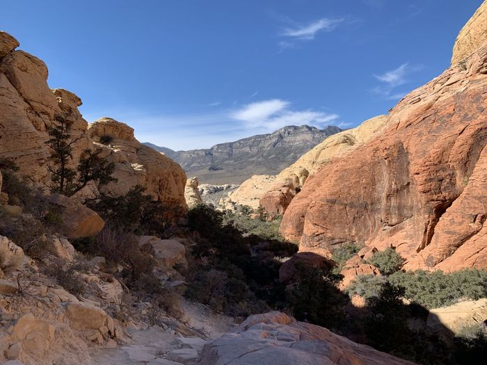 Scenic view of mountains against sky. red rock canyon, nevada