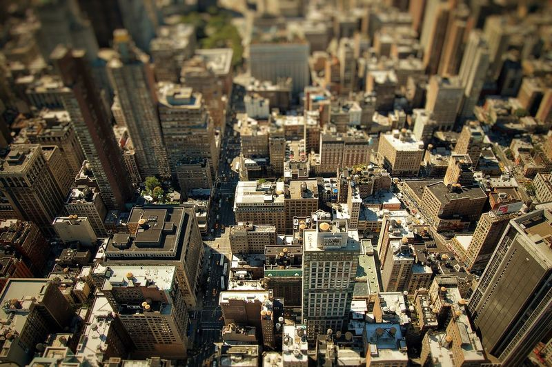 Tilt shift image of cityscape