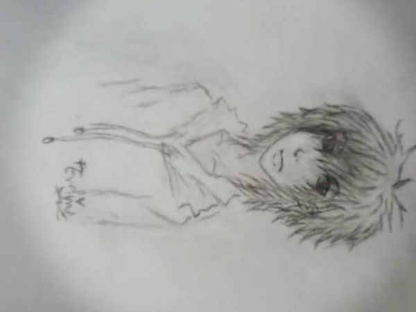 Anime :3 ^.^'  My Old Drawing Anime Boy Funny Stuff Peace ✌ ^_^~ Black And White