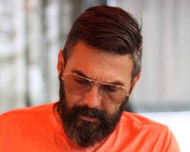 Close-up of bearded man wearing sunglasses