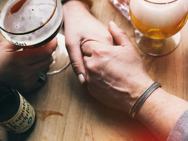 Holding Hands Beer Couple Older Couple