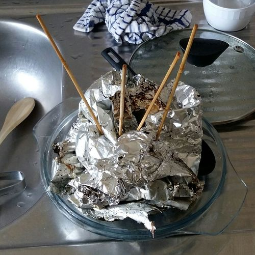 Silver  Finished Eating Work Dirty Kitchen Cleaning Time Skewer Sticks Aluminium Foil Lid Arrangement Arranged Objects Sticks-in-foil Arrangement Interesting Composition Interesting Perspective  High Angle View Indoors  Close-up