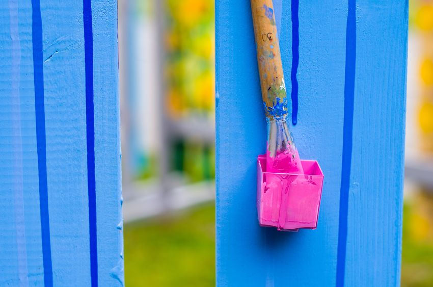 Pink Blue Brush Close-up Day Fence Jar With Paint Multi Colored No People Outdoors Paint Pink
