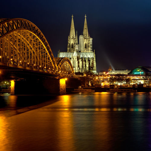 Cologne Cathedral. Cathedral Cologne Cologne Cathedral, Germany Architecture Bridge Bridge - Man Made Structure Building Building Exterior Built Structure City Cologne Cathedral Dome Illuminated Night No People Outdoors Place Of Worship Reflection River Sky Tourism Travel Travel Destinations Water