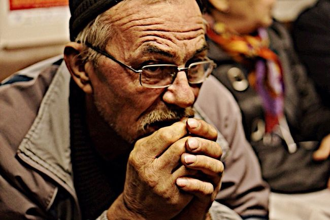 Deep in thoughts Thoughts Thinking Old Guy Moscow Subway Wrinkles Russian Russia