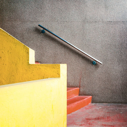 Inside Monte Amiata Housing Architecture Interior Staircase Stairs Minimalism Cleaning Equipment Yellow Cleaning Low Section Textured  High Angle View Close-up
