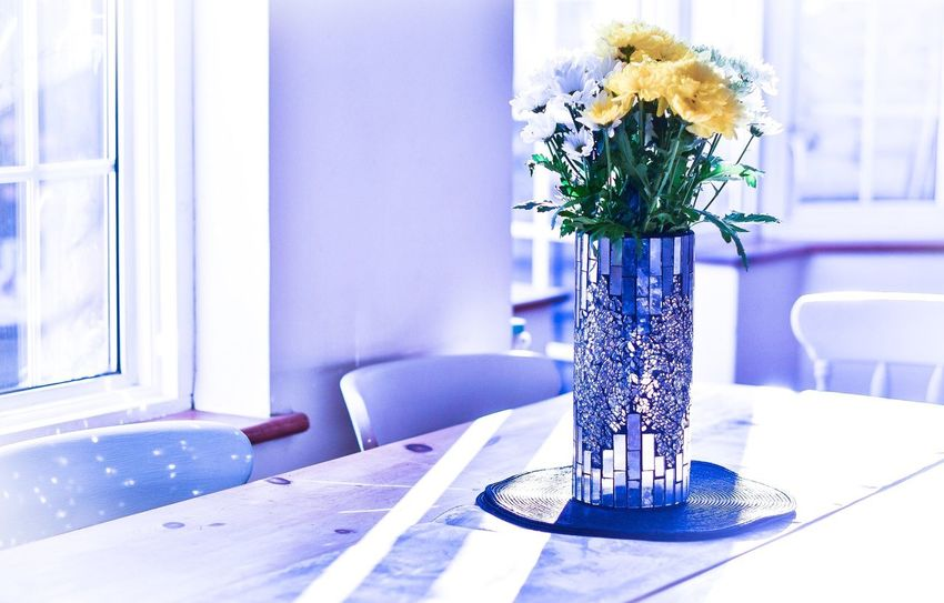 Interior Style Flowers at my parents house Vase Vase Of Flowers Flowers Mirror Mirror Vase Lighting Creative Light And Shadow Dining Table Dining Room Sunny Day
