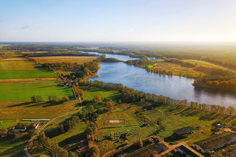 Rehfelde Grünheide Kagel Lake Aerial View Fall Autumn Beauty In Nature Nature Scenics Landscape Water Tranquil Scene High Angle View Tranquility No People Outdoors Field Day Agriculture Tree Clear Sky Sky