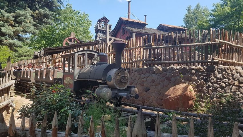 Big Thunder Mountain Railroad - Disneyland Resort Paris 2017 2017 2017 Year 2017 Photo DLRP France Rides And Attractions Rollercoaster Tourist Attraction  Travel Travel Photography Architecture Big Thunder Mountain Big Thunder Mountain Railroad Building Exterior Built Structure Day Growth Nature No People Outdoors Plant Runaway Train Sky Theme Park Ride Travelphotography Tree