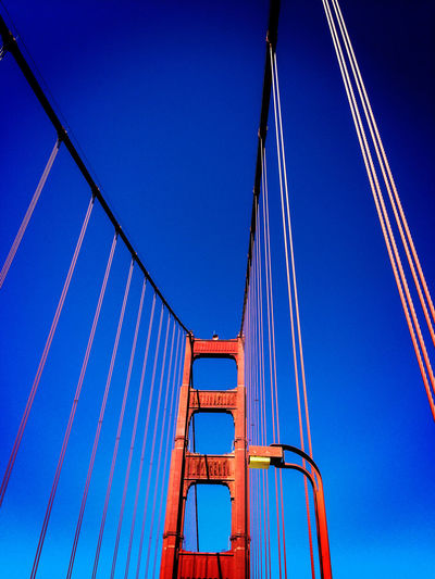 Low Angle View Of Golden Gate Bridge Against Clear Blue Sky