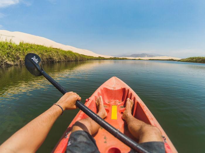 Kayak Kayaking Outdoors Adventure Extreme Sports Water Sport Watersports Paddle Paddling Oasis Lake Landscape Arid Climate Hot Weather Activity Ica Peru Pisco Moron Laguna Moron Oasis Moron