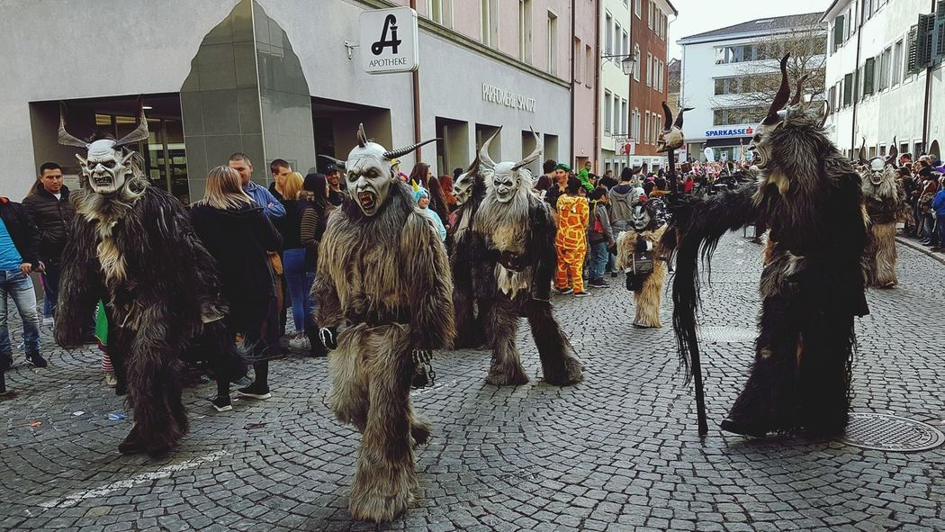 Large Group Of People Arts Culture And Entertainment Celebration Men Adults Only Outdoors Day EyeEm Gallery EyeEm Best Shots Austria Vorarlberg  Springtime Fasnacht 2017 City Travel Destinations Carnival Feldkirch  Headwear Street Photography