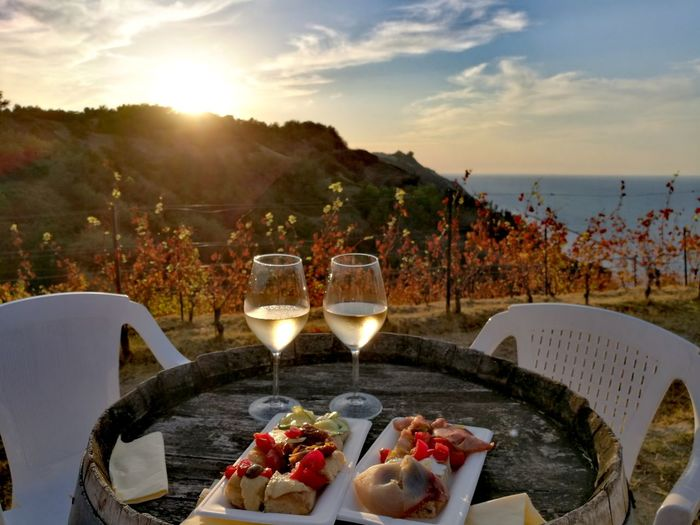 Fattoria Mancini...vigna Rive🍇 Food And Drink Wineglass Sunset Sea View Rural Scene Lifestyles Tranquility Beauty In Nature Relaxing View Parco San Bartolo