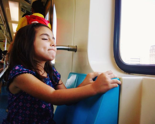 Diulia conhecendo o metrô!! rs Child Sitting Side View Window City Metro Train Train - Vehicle Train Interior Public Transportation